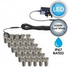 Set of 30 - 15mm Stainless Steel IP67 Cool White LED Plinth Decking Kit