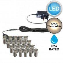 Set of 20 - 15mm Stainless Steel IP67 Warm White LED Plinth Decking Kit