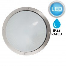 Round Brushed Stainless Steel Bulkhead LED IP44 Outdoor Wall Light
