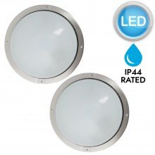 Pair of Round Brushed Stainless Steel Bulkhead LED IP44 Outdoor Wall Lights