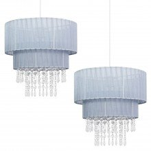 Pair of Grey Two Tiered Jewelled Light Shades