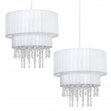 Pair of White Two Tiered Jewelled Light Shades