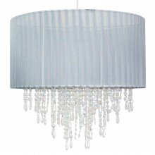 Large 40cm Grey Ribbon Jewelled Light Shade