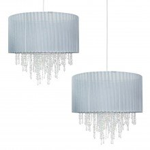 Set of 2 Large 40cm Grey Ribbon Jewelled Light Shades