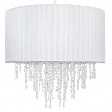 Large 40cm White Ribbon Jewelled Light Shade