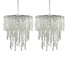 Set of 2 Clear Jewelled Easy Fit Light Shades