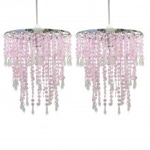 Set of 2 Pink Jewelled Easy Fit Light Shades