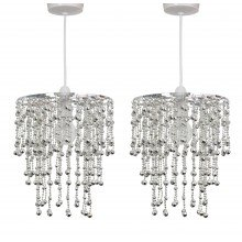 Pair of Chrome Jewelled Waterfall Easy Fit Light Shades