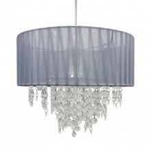 Grey Ribbon Jewelled 30cm Easy Fit Light Shade