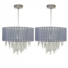 Pair of Grey Ribbon Jewelled 30cm Easy Fit Light Shades