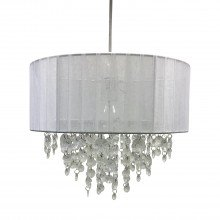 White Ribbon Jewelled 30cm Easy Fit Light Shade