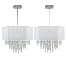 Pair of White Ribbon Jewelled 30cm Easy Fit Light Shades