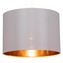 Grey Faux Silk 30cm Light Shade with Copper Inner