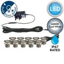 Set of 10 - 45mm Stainless Steel IP67 Cool White LED Plinth Decking Kit with Dusk til Dawn Photocell Sensor