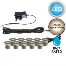 Set of 10 - 30mm Stainless Steel IP67 Warm White LED Plinth Decking Kit