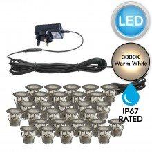 Set of 30 - 30mm Stainless Steel IP67 Warm White LED Plinth Decking Kit