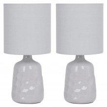 Set of 2 Dimple 29cm Light Grey Lamps