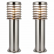 Set of 2 Brushed Stainless Steel 50cm Garden Post Lights