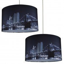 Set of 2 Digitally Printed Shade with New York City Skyline 400mm Diameter