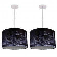 Set of 2 Digitally Printed Shade with New York City Skyline 320mm Diameter Adjustable Flush