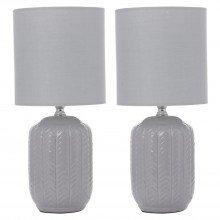 Set of 2 Herring 30cm Light Grey Lamps
