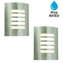 Pair of Brushed Stainless Steel Garden Wall Washer Light