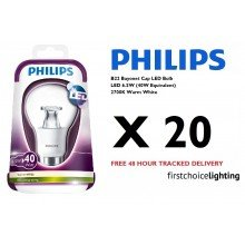 Set of 20 x Philips BC 6.5W LED Bulbs in Warm White