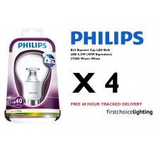 Set of 4 x Philips BC 6.5W LED Bulbs in Warm White