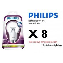 Set of 8 x Philips BC 6.5W LED Bulbs in Warm White