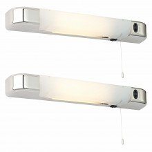 Set of 2 Chrome Bathroom Shaver Lights
