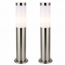 Set of 2 Brushed Stainless Steel 43cm Garden Post Lights
