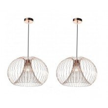 Pair of Copper Wire 42W E27 Ceiling Pendants