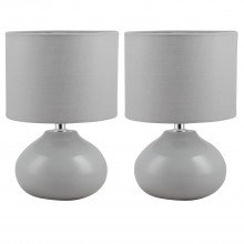 Set of 2 Owen - Grey Ceramic 24cm Table Lamp / Bedside Lights with Matching Shades