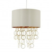 Ivory Faux Silk and Satin Brass Rings Ceiling Light Pendant