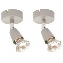 Pair of Silver and Chrome Finish Single Spotlights