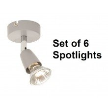 Set of 6 Silver and Chrome Finish Single Spotlights
