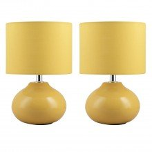 Set of 2 Owen - Ochre Ceramic 24cm Table Lamp / Bedside Lights with Matching Shades