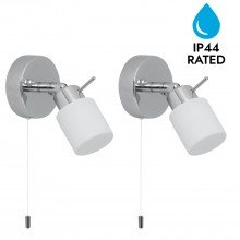Pair of Polished Chrome IP44 Bathroom Wall Light With Pull Cord Switch