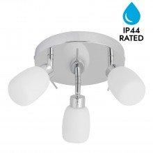 Chrome and Opal Glass Bathroom Ceiling 3 Way Spot Light