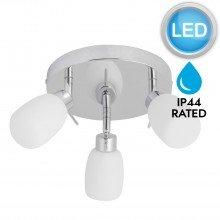 Chrome and Opal Glass Bathroom Ceiling 3 Way Spot Light with LED Bulbs