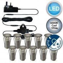 Set of 10 - 15mm Stainless Steel IP67 Cool White LED Decking Kit with Dusk til Dawn Photocell Sensor