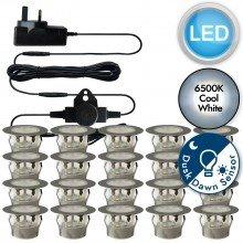Set of 20 - 45mm Stainless Steel IP67 Cool White LED Decking Kit with Dusk til Dawn Photocell Sensor