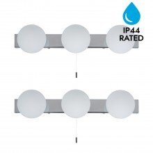 Pair of Hollywood Style Over Mirror Pull Cord Wall Lights