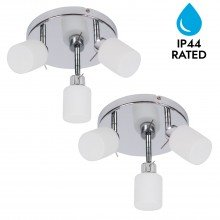 Pair of Chrome and Opal Glass Bathroom Ceiling 3 Way Spot Lights