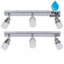 Pair of Chrome and Opal Glass Bathroom Ceiling 3 Way Spot Light Plates