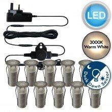 Set of 10 - 15mm Stainless Steel IP67 Warm White LED Decking Kit with Dusk til Dawn Photocell Sensor