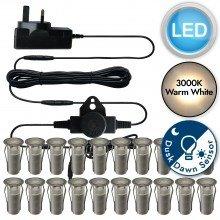 Set of 20 - 15mm Stainless Steel IP67 Warm White LED Decking Kit with Dusk til Dawn Photocell Sensor