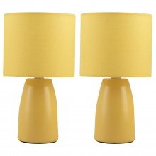 Set of 2 Clive - Ochre Ceramic 25cm Table Lamp / Bedside Lights with Matching Shades