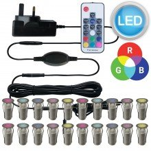 Set of 20 - 15mm Stainless Steel IP67 RGB Colour Changing LED Plinth Decking Kit