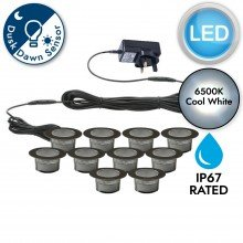 Set of 10 - 60mm Stainless Steel IP67 Cool White LED Decking Kit with Dusk til Dawn Photocell Sensor